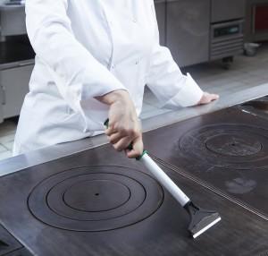 Grattoir à plaque de cuisson pour restauration Sanipousse