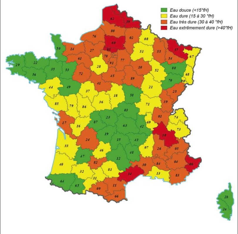 Carte de France des titres hydrotimétriques selon les régions et départements (TH)