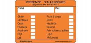 Les étiquettes allergènes Sanipousse permettent d'informer les consommateurs de la présence d'éventuelles substances allergènes contenant votre préparation alimentaire.